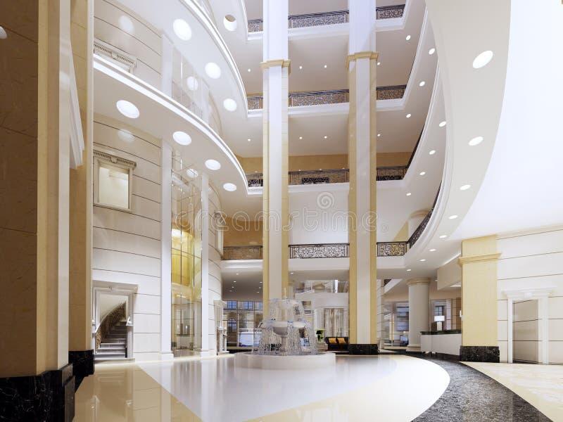 Die Lobby des Fünf-Sternehotels in einer modernen Art mit Marmorwänden und Säulen lizenzfreie abbildung