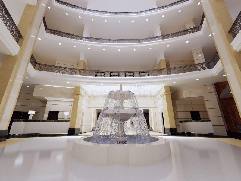 Die Lobby des Fünf-Sternehotels in einer modernen Art mit Marmorwänden und Säulen vektor abbildung