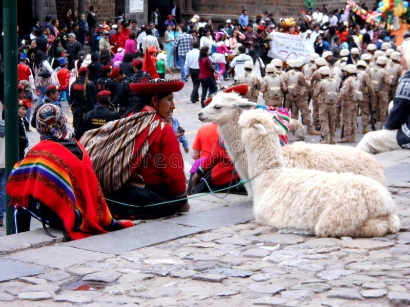 Die lokale Frau, die in der Straße strickt, stellt die lokale Tradition in Cuzco dar lizenzfreies stockbild