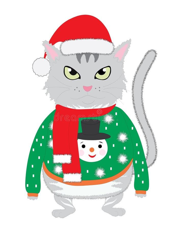 Die lokalisierte nette Katze, die eine dumme Winterstrickjacke mit Kappe des Schneemannes und neues Jahr ` s trägt lizenzfreie abbildung