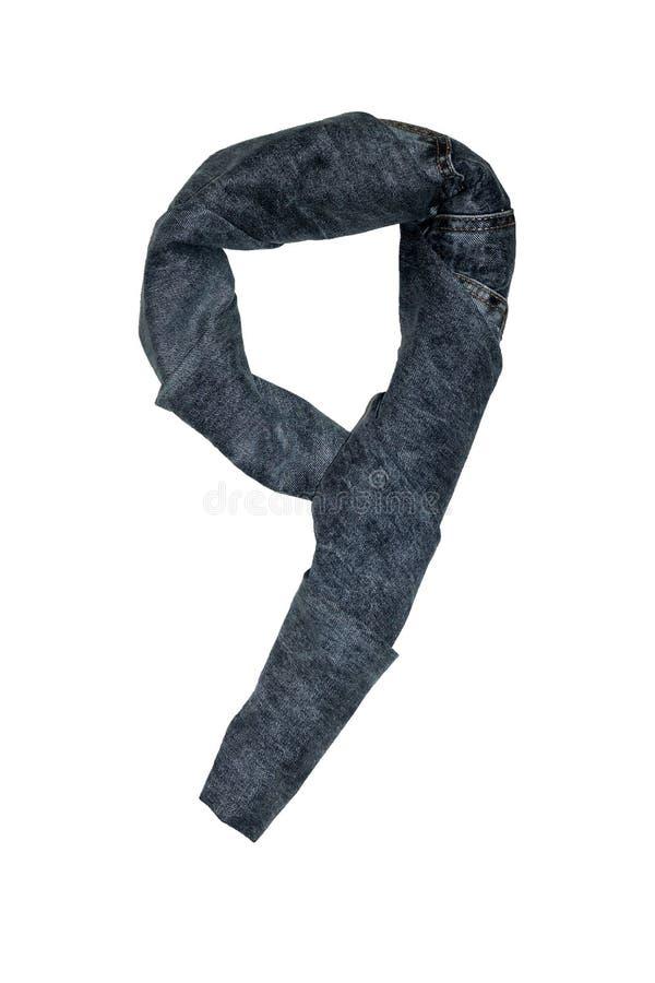 Die lokalisierten Zahlen von 1 bis 10 ausgebreitet mit Jeans in den verschiedenen Farben lizenzfreie stockbilder