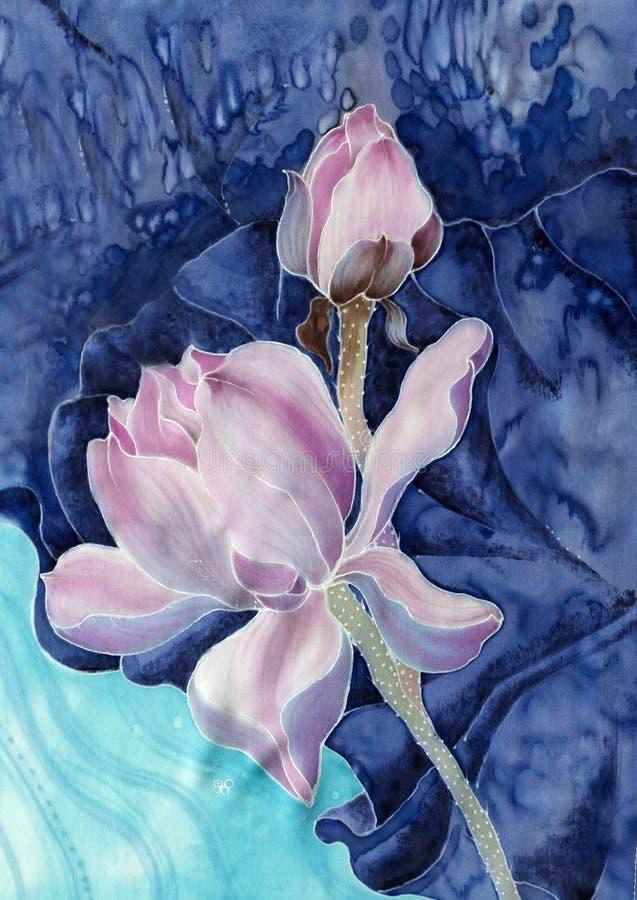Die Lotos batik Dekorative Zusammensetzung von Blumen, Blätter, Knospen Benutzen Sie Druckerzeugnisse, Zeichen, Einzelteile, Webs lizenzfreie abbildung
