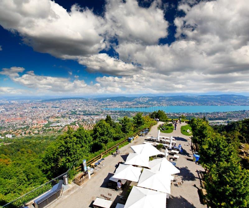 Die Luftaufnahme der Zürich-Stadt stockbild