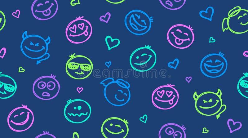 Die lustige gezeichnete Hand lächelt nahtloses Muster stock abbildung