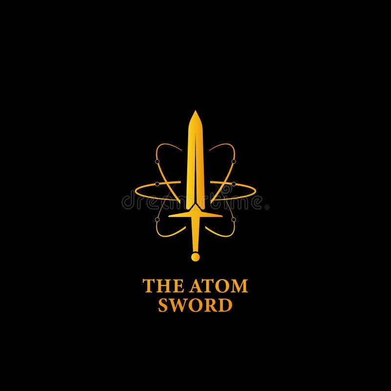 Die mächtige Atomklingen-Logoikone, Klingen-Logosymbol der Supermacht magisches in der Goldfarbe mit Atombahn Zeilendarstellung stock abbildung