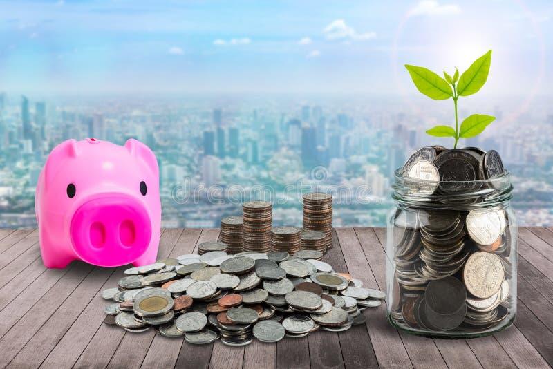 Die männliche Hand, die Geld steckt, prägt in der klaren Flasche, im Sparschwein und im Li stockfotos