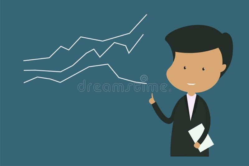 Die männliche Rolle trägt eine schwarze Anzugsstellung Diagrammerklärungen zeigend, zeigt Statistiken die positive Richtung an -  stock abbildung