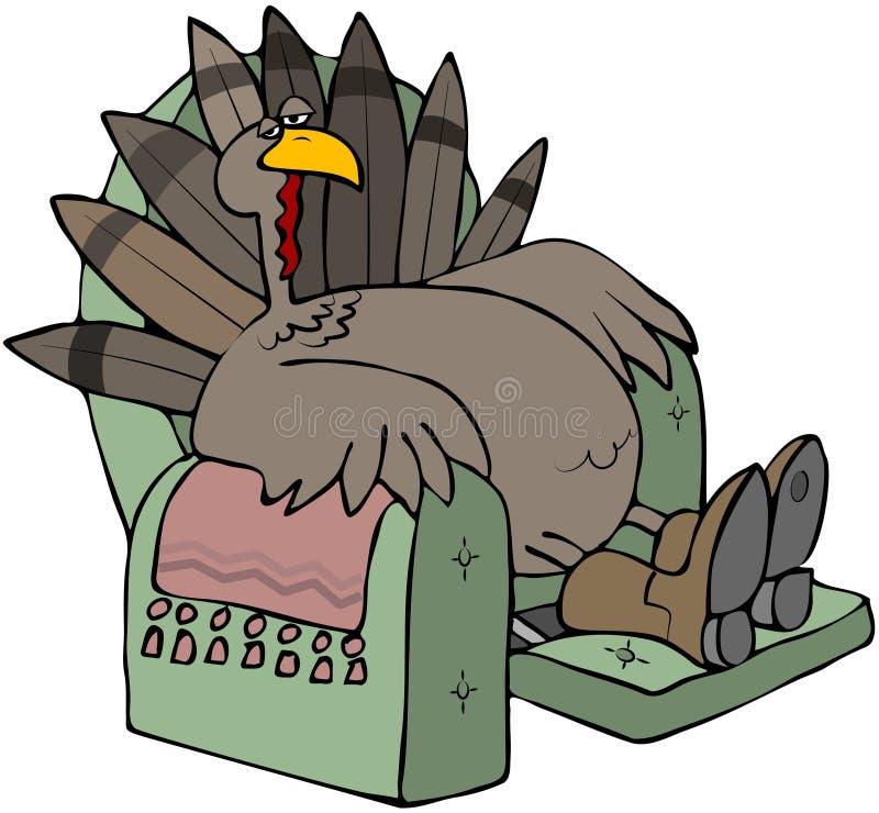 Die müde Türkei in einem Recliner stock abbildung