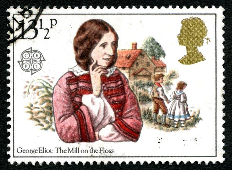 Die Mühle auf der Glasschlacken-BRITISCHEN Briefmarke stockbild