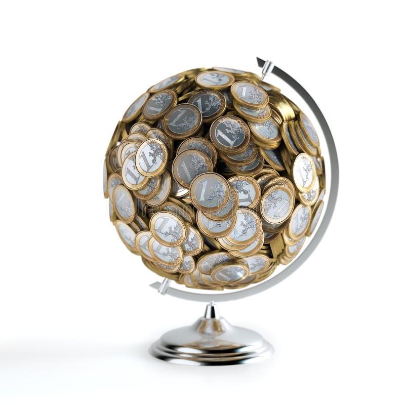 Die Münzen-Kugel (Geld-Begriffsbild) lizenzfreie stockfotos