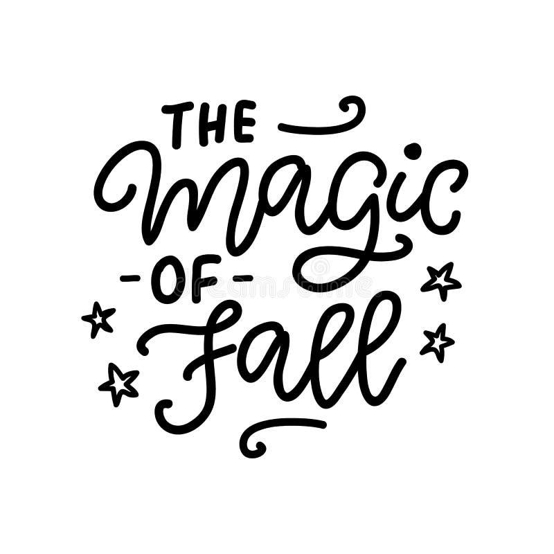 Die Magie des Fallplakats Schriftliche Tintenbeschriftung des Herbstes Hand lizenzfreie abbildung