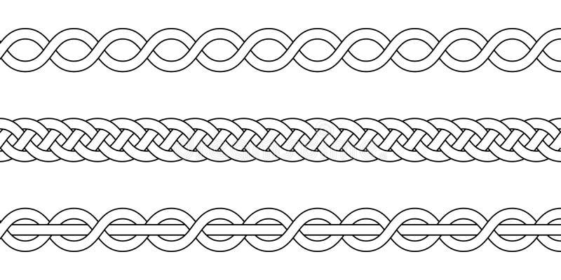 Die Makrameehäkelarbeit, die, Bortenknoten spinnt, Vektor strickte die schneidenen Weiden Stränge des umsponnenen Musters vektor abbildung