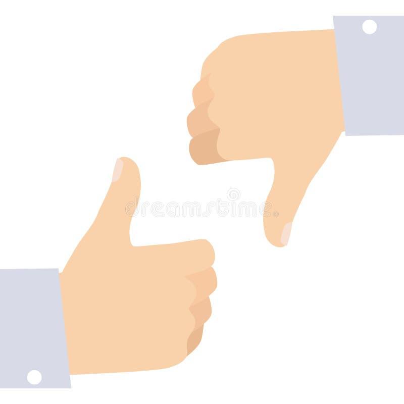 Die Mann-Hände, die wie gestikulieren und lehnen Sozialikonen-die flache Vektor-Illustration ab, die auf Weiß lokalisiert wird stock abbildung