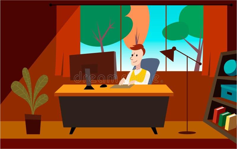 Die Mannarbeit im Büro Kunstillustration stock abbildung