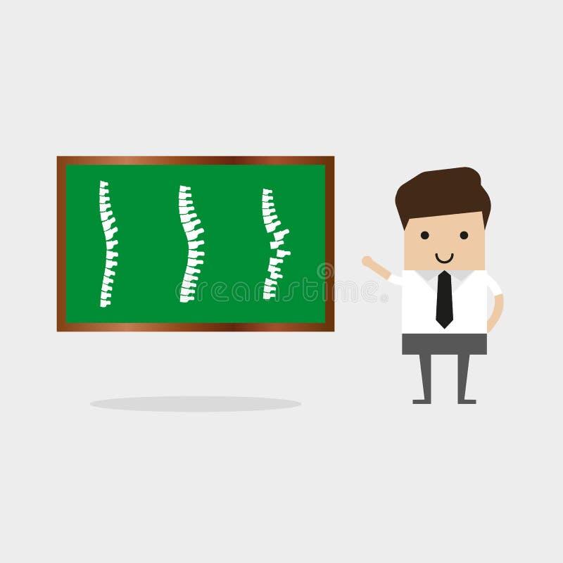 Die Mannpunkte zu drei Dornen auf dem Schirm Patient Vektor-Illustrations-Mann-Doktor-Studying Problems Spine Doktor Uses Virtual lizenzfreie abbildung