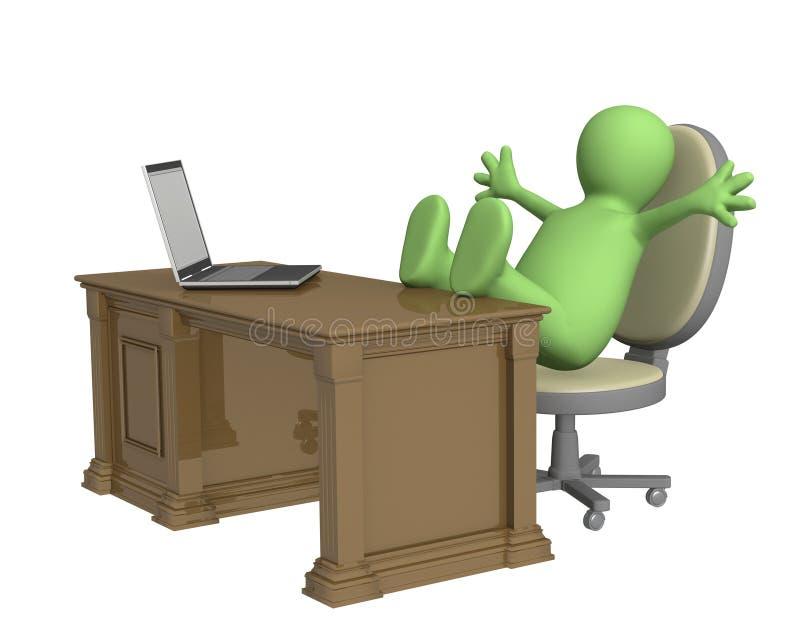 die Marionette 3d, geworfen bezahlt auf Bürotabelle stock abbildung