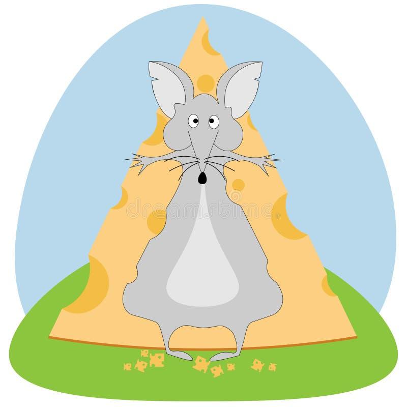 Die Maus schluckte ein Stück Käse und möchte nicht Vorrat, den Entwurf der Kinder aufgeben vektor abbildung