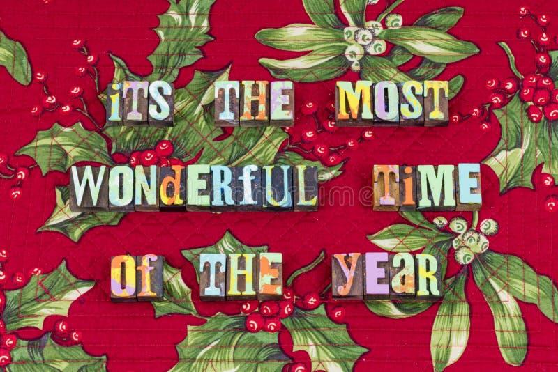 Die meiste wunderbare Zeitjahr Weihnachtstypographie stockfotos