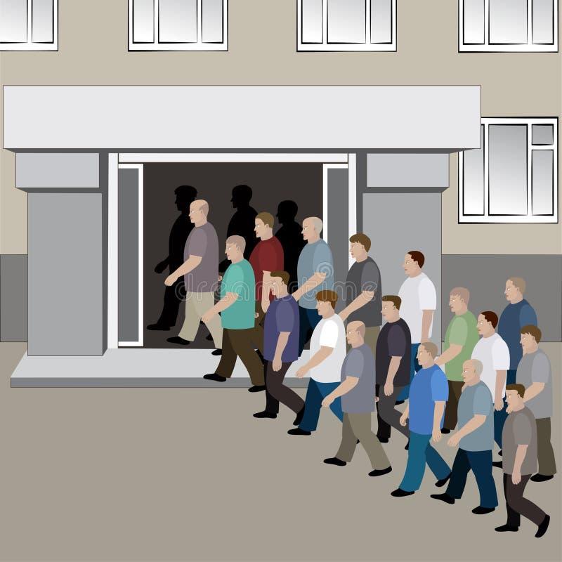 Die Menge von Männern nimmt an den Türen des Gebäudes teil stock abbildung