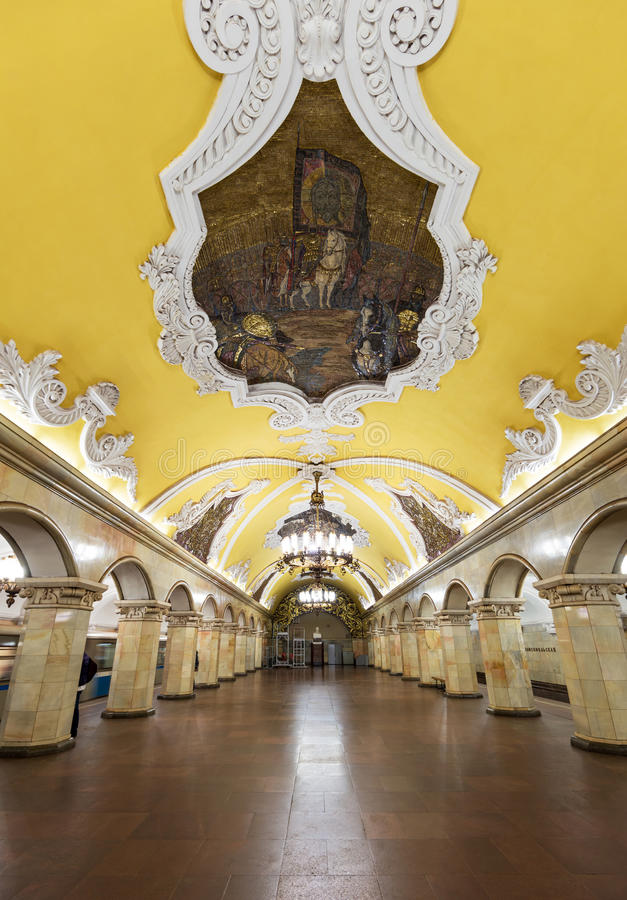 Die Metrostation Komsomolskaya in Moskau, Russland lizenzfreie stockfotografie