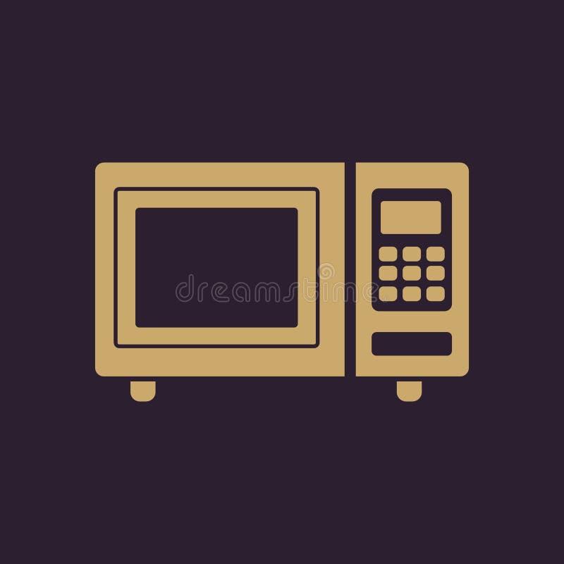 Die Mikrowellenherdikone Eine Schutzkappe des Kochs, des Schildes und der Fahne auf einem schwarzen Hintergrund flach lizenzfreie abbildung