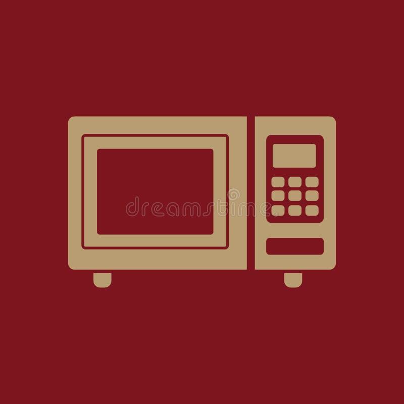 Die Mikrowellenherdikone Eine Schutzkappe des Kochs, des Schildes und der Fahne auf einem schwarzen Hintergrund flach stock abbildung