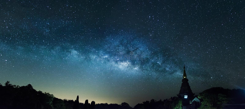 Die Milchstraße im Panoramaschuß lizenzfreie stockfotografie