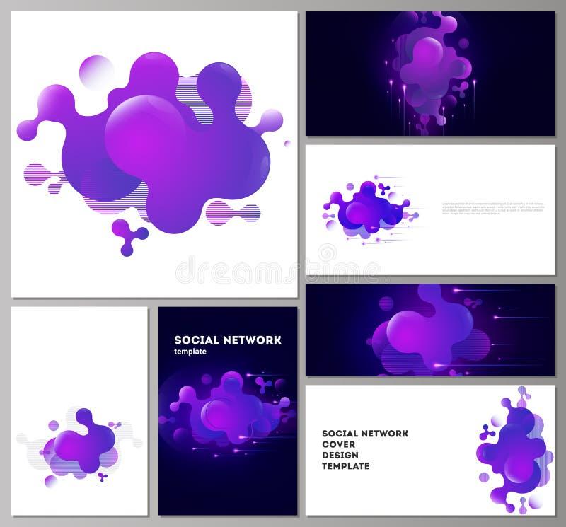 Die minimalistic abstrakte Vektorillustration der editable Pläne der modernen Modelle des Sozialen Netzes in populärem lizenzfreie abbildung