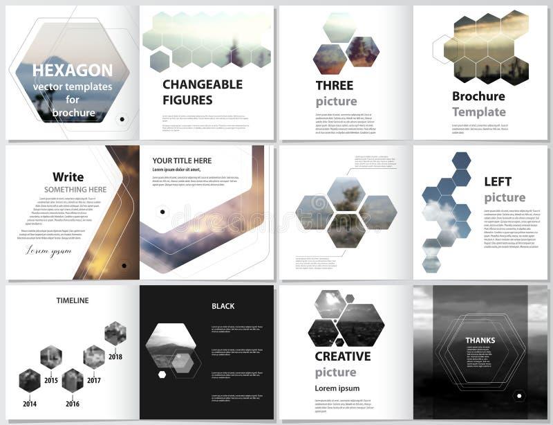 Die minimalistic Vektorillustration des editable Plans der quadratischen Designbi-Faltenabdeckungen entwerfen Schablonen für lizenzfreie abbildung
