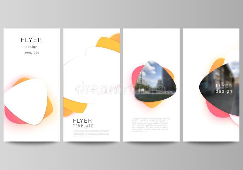 Die minimalistic Vektorillustration des editable Plans des Fliegers, Fahnendesignschablonen Gelbe Farbsteigung vektor abbildung