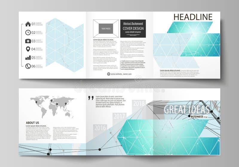 Die minimalistic Vektorillustration des editable Plans Zwei moderne kreative Abdeckungsdesignschablonen für Quadrat stock abbildung