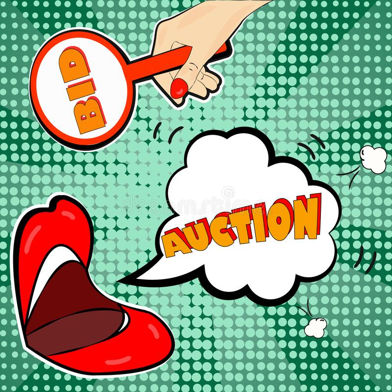 Die Mitteilung der Auktion im Stil der Pop-Art vektor abbildung