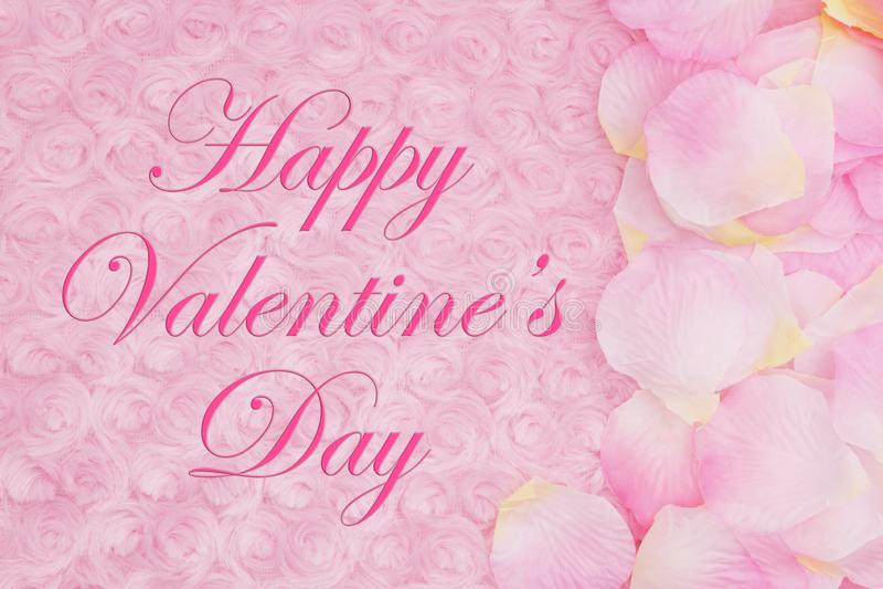 Die Mitteilung des glücklichen Valentinsgrußes mit den Blumenblättern einer Blume auf blassem - rosa rosafarbenes Plüschgewebe stock abbildung