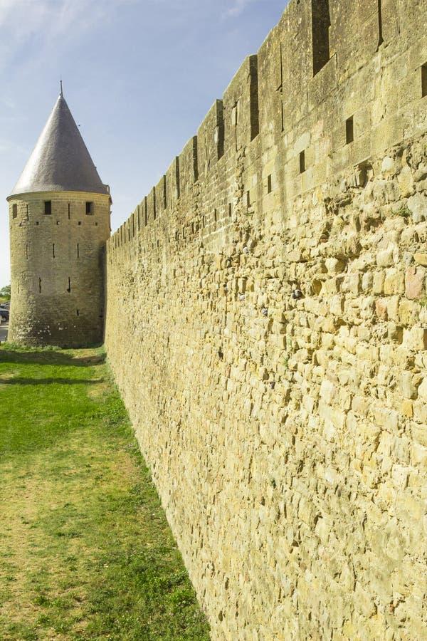 Die mittelalterliche Festung von Carcassonne stockfotos