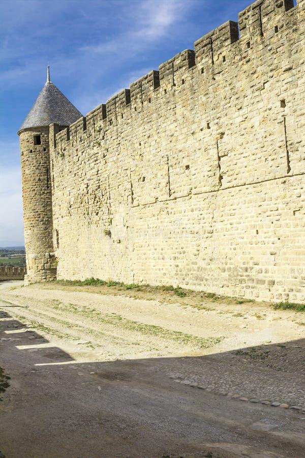 Die mittelalterliche Festung von Carcassonne stockfoto