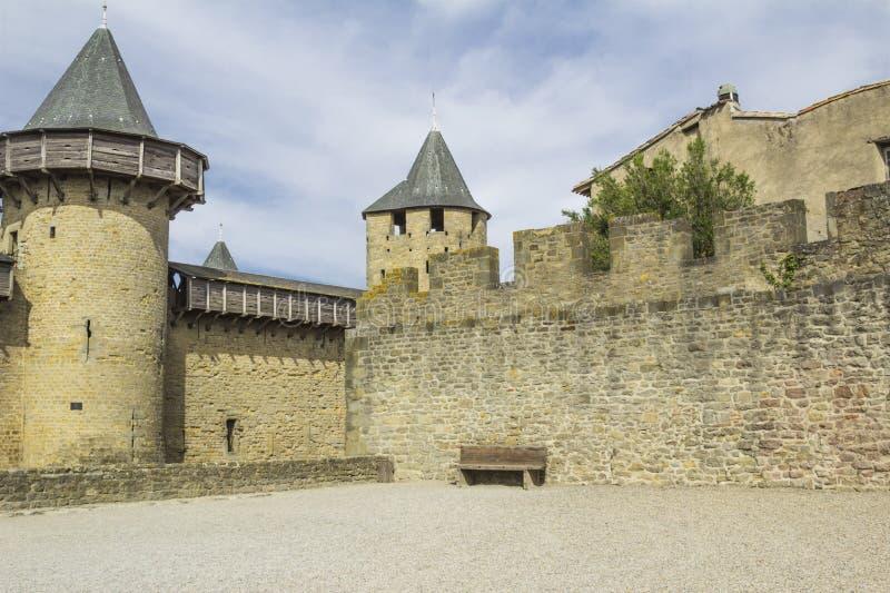Die mittelalterliche Festung von Carcassonne lizenzfreie stockfotos
