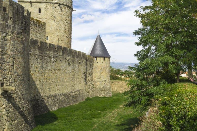 Die mittelalterliche Festung von Carcassonne stockbild