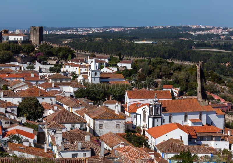 Die mittelalterliche Stadt von Obidos lizenzfreies stockbild