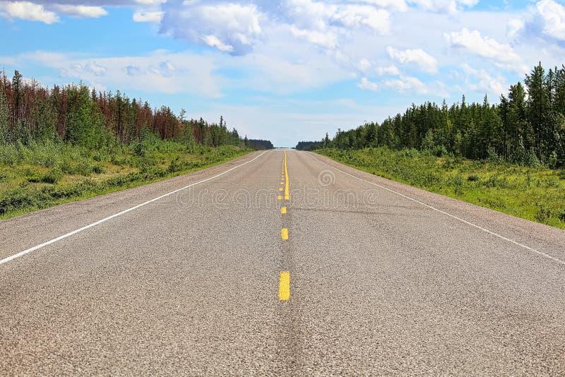 Die Mittellinie einer Landstraße, die in den Abstand verschwindet stockbilder