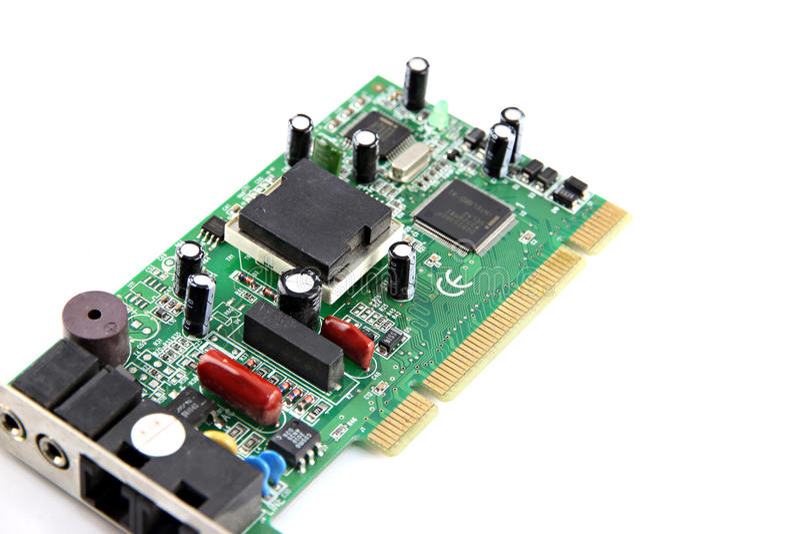 Die Modem Computerausrüstungs-Leiterplatte. stockbilder