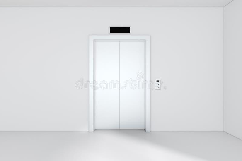 Die modernen Aufzugs- oder Aufzugtüren, die vom Metall gemacht wurden, schlossen im Gebäude mit Beleuchtung Wiedergabe 3d vektor abbildung