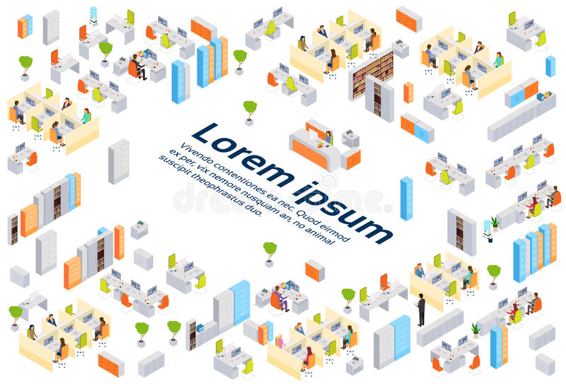 Die modernen Geschäftszentrum-Bürogebäude-Wirtschaftler, die Innenkopie bearbeiten, isometrisches sperren 3d lizenzfreie abbildung