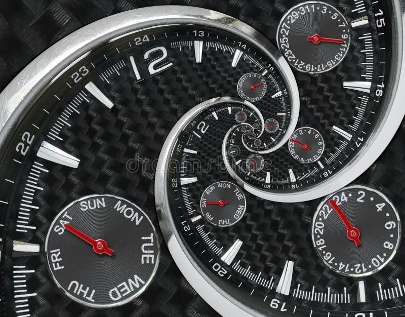 Die modernen silbernen schwarzen roten Uhrhände der Modeuhruhr, die zur surrealen Zeit verdreht werden, winden sich Surrealismusu lizenzfreie stockbilder
