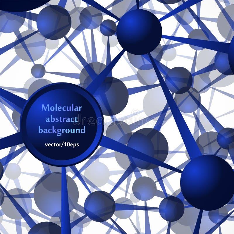 Die Molekülstruktur, die Atome Abstrakter Hintergrund in den blauen Tönen vektor abbildung