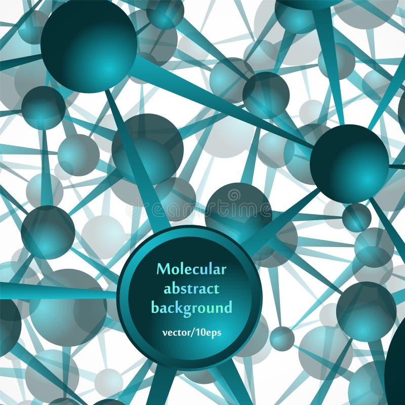 Die Molekülstruktur, die Atome Abstrakter Hintergrund in den grünen Tönen vektor abbildung