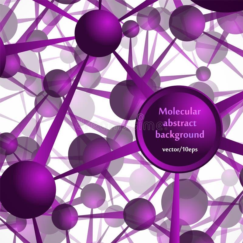 Die Molekülstruktur, die Atome Abstrakter Hintergrund in den purpurroten Tönen vektor abbildung