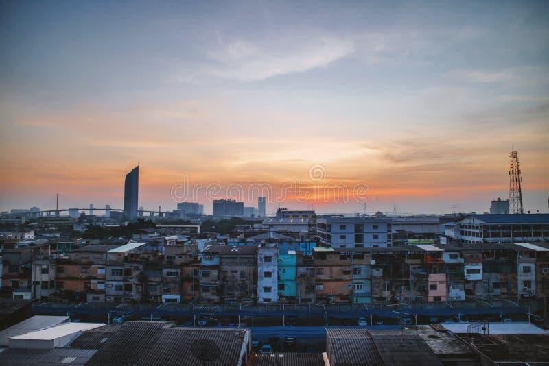 Die Morgendämmerung von Bangkok, der Hauptstadt Thailands, war an einem Punkt kein Wahrzeichen lizenzfreie stockbilder
