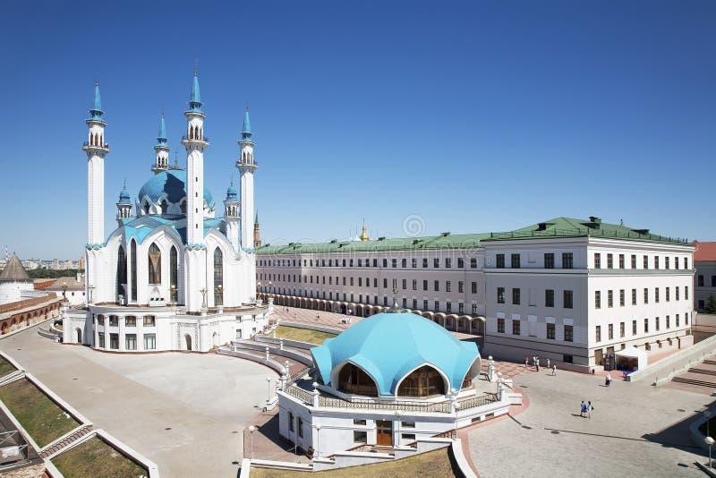 Die Moschee Kul Sharif im Kasan der Kreml, Draufsicht lizenzfreies stockfoto