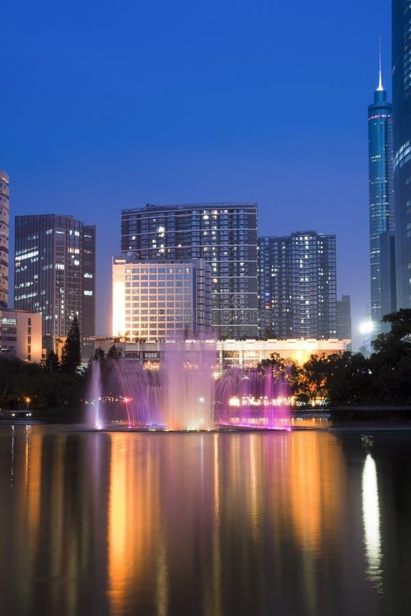 Die Nachtansicht von Shenzhen stockbilder