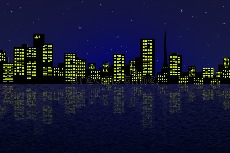 Die Nachtstadt lizenzfreie stockbilder